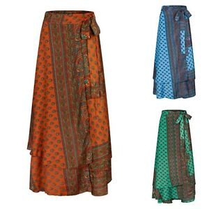 New Long Silky Double Layered Wraparound Hippie Skirt up to PLUS size