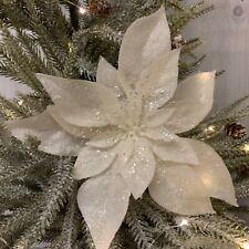 Cream Glitter Poinsettia Clip On Christmas Tree Decoration Vintage Retro