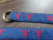 J McLaughlin Blue and Red D-Ring Size XL Belt Embroidered Cupid,Valentine, Devil