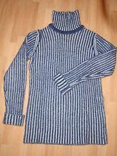 Cashmere designer Christopher Kane jumper, navy/white ribbed, polo 10 - 12
