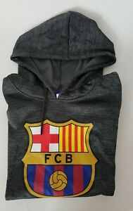 FC Barcelona  Size Large Gray Hooded Sweat Shirt