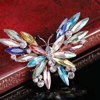 Colorful Women Fashion Trend Crystal Glass Rhinestone Butterfly Brooch Jewelry