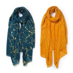 All Season Boutique Chiffon Gold Line Design Scarf Woman Girl Chiffon Scarf UK