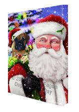 Jolly Old Saint Nick Santa Bullmastiff Dog Holiday Gifts Canvas Wall Art
