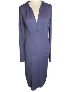 "Vila Ladies Grey Knitted "" Macie "" Cotton Blend Dress Size M (L4)"