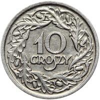 Polen Republik 1918-1939 - II RP - Münze 10 Groszy 1923 Nickel - Gekrönter Adler