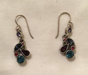 Signed Patricia Locke Silver Multi-Color Crystal Clusters Hook Earrings