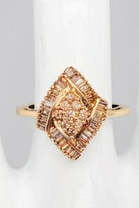 Estate $3000 2ct Natural Champagne Baguette Diamond 10k Yellow Gold CLUSTER Ring