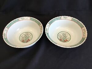 Pair of Antique or Vintage Chinese Famille Verte Porcelain Bowls