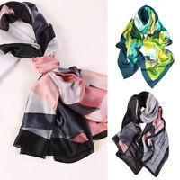 Women Large Silk Satin Scarf Head Neck Wrap Shawl Beach Scarves Stole 180x90cm