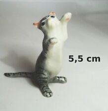 chat miniature en porcelaine,collection,animal,animaux, cat, kat, poes,gris  *S2