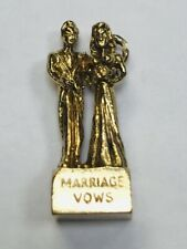 9ct GOLD MARRIAGE VOWS BRIDE & GROOM Charm/Pendant