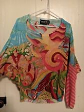 CUSTO BARCELONA WOMENS PRINTED COLORFUL DOLMAN SWEATER
