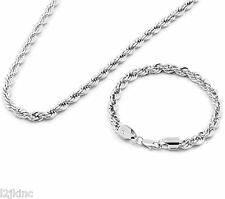 "Men's Silver Chrome Plated 20"" Inch 6mm Hip-Hop Dookie Rope Chain & Bracelet Set"