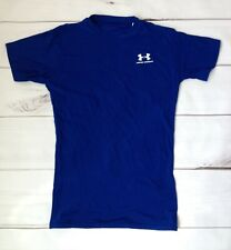Under Armour Mens Large Blue Short Sleeve Fitted Heatgear Moisture Transport