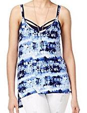 NWT Ultra Flirt Junior High Low Tie Dye Printed Tank Cami Top Blue L (Macy's)
