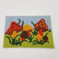 "Mushroom Finished Needlepoint 5x7"" Orange Yellow Brown Green"