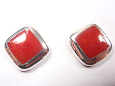 Red Coral Squares with Soft Corners 925 Sterling Silver Stud Earrings