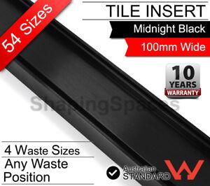 LAUXES Linear Black Tile Insert Floor Strip Shower Grate Drain bathroom waste