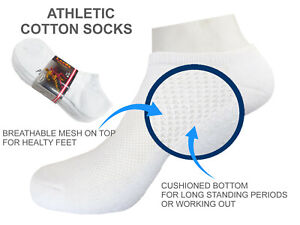 4-8-12 LOW CUT SOCKS Cushioned Bottom Size 9-11 Breathable Cotton White Socks