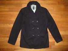 Gap Women's Size Medium Black Virgin Wool Blend Double Breasted Peacoat Coat