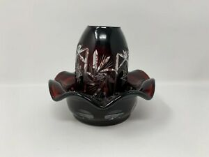 Fenton Cranberry Cut to Clear Fairy Lamp  #18