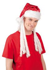 Weihnachtshut Party Hut Rasta Santa mit Haar Rastafari Wichtel Partyhut rot weiß