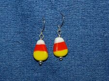 Candy Corn, Glass Beaded and Sterling Silver Wire Earrings, Made in the USA
