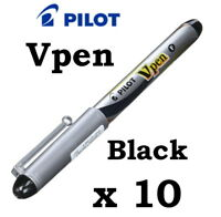 10 x PILOT V Pen Disposable Fountain Pen - Black - Fine size nib