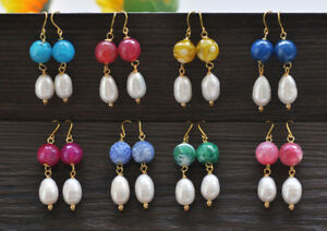 D0438  Faceted Agate White Rice Pearl Dangle Earring