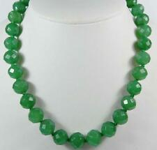 Stunning! Natural 10mm Green Emerald Faceted Round Gemstone Beads Necklace 18""