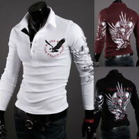 Men's Stylish Slim Fit Fashion Casual T-Shirts Polo Shirt Long Sleeve Tee Tops Y