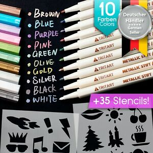 Metallic Stifte Set inkl. 35 Schablonen für Fotoalbum | 10 Metallic Marker Pens