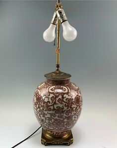 """Very Fine Chinese Porcelain Lamp w/ Rust & White Scrollwork, 2-Light 29"""" Tall"""