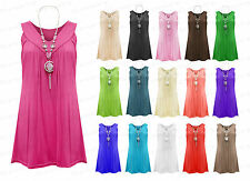 Ladies Sleeveless Summer V Neck Gypsy Frill Necklace Plus Size Blouse Tops 12-24