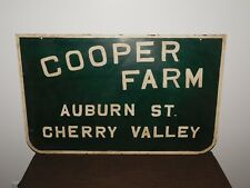 "VINTGE 31 1/2"" X 19 1/2"" COOPER FARM AUBURN ST CHERRY VALLEY OLD DAIRY FARM SIGN"