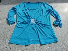 Shirt 2 in 1 Top und Jäckchen Zierpasse mit Strass-Steinchen türkis Gr. 38