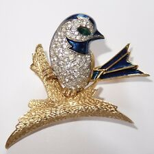VINTAGE JOMAZ GOLD PLATE ENAMEL EMERALD GREEN CRYSTAL RHINESTONE BIRD PIN