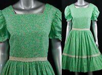 Country Girl 70s Calico Circle Skirt Dress Minnie Pearl Rockabilly Prairie M/L