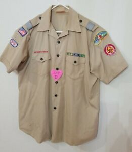 BOY SCOUTS Of America Uniform Shirt BSA Scout USA Adult Mens :XL Vintage D
