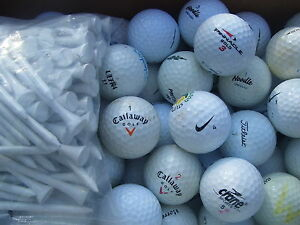 100 Golfbälle  Marken Mix  Markenmix AAAA  bis AA Qualität und 50 Tees Top