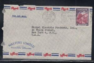 BERMUDA Commercial Cover Hamilton to New York City 3-10-1952 Cancel