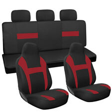 10pc Set Red Black Integrated Chair + Bench High Back For Auto Car Seat Covers