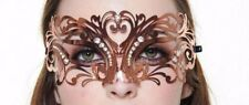 Stunning Rose Gold Venetian Masquerade Metal Mask with Clear Rhinestones