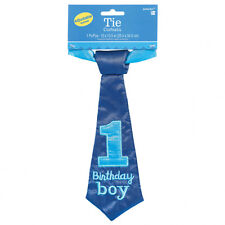FIRST 1ST BIRTHDAY PARTY BABY BOYS BLUE FABRIC NECK TIE ONE YEAR OLD DECORATION