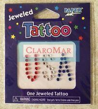 ☀️ New Temporary Jeweled Tattoo USA Red White Blue Tatouages Amovibles Tatuaje