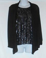 Notations Ladies 2 fer Eyelash Ruffle Top & Open Front Sweater Black Small (S)