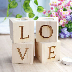4x Rustic Love Tea Lights Candle Holder Wooden Table Centrepiece Christmas Decor