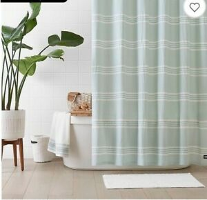 UGG Devon 72 inch x 72 inch Shower Curtain in Blue Crush Stripe New