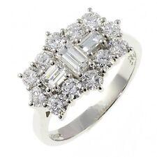 18Carat White Gold Half Carat Diamond Round-Baguette Cluster Ring 0.50carats GVS